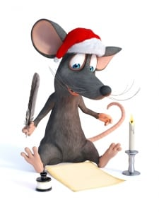 Cartoon mouse wearing Santa hat and writing Christmas wish list.